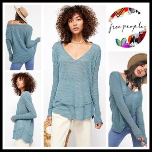 FREE PEOPLE BOHO PULLOVER TUNIC SWEATER TOP A3C
